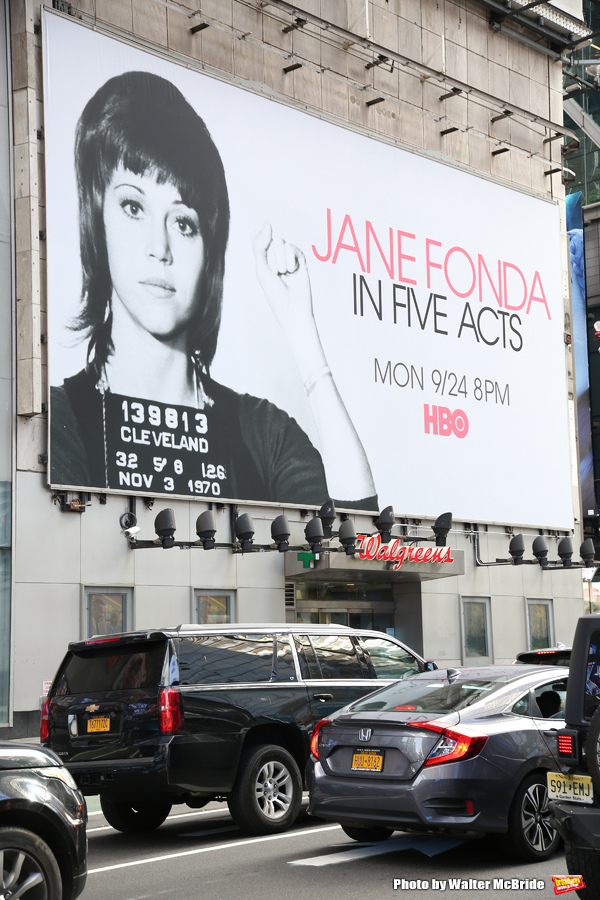 """Times Square Billboard for HBO's """"Jane Fonda in Five Acts"""" on September 21, 2018 at 42nd Street in New York City."""