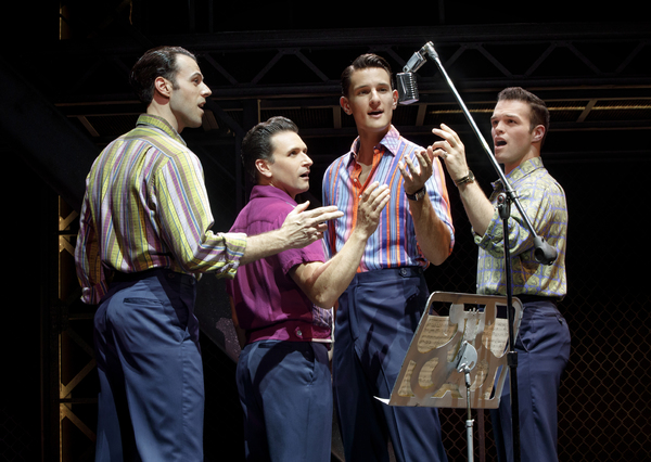 "Mark Edwards as �""Nick Massi,"" Aaron De Jesus as �""Frankie Valli,"" Cory Jeacoma as �""Bob Gaudio"" and Sam Wolf as �""Tommy DeVito"""
