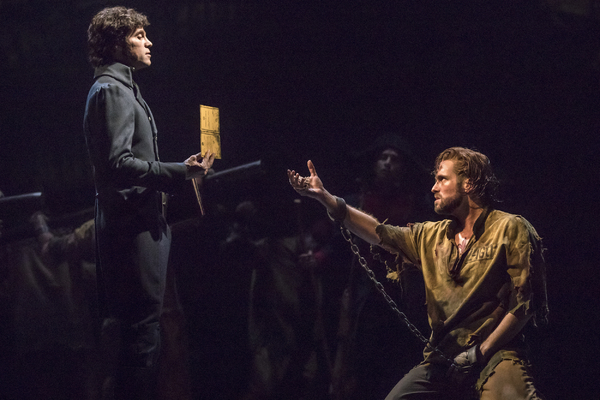 (From L) Josh Davis as Inspector Javert and Nick Cartell as Jean Valjean in the new national tour of LES MISERABLES.  Photo by Matthew Murphy