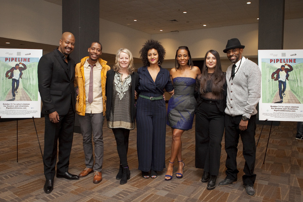 The cast of PIPELINE: Morocco Omari, Namir Smallwood, Tasha Lawrence, Karen Pittman, Heather Velazquez, and Jaime Lincoln Smith with director Lileana Blain-Cruz
