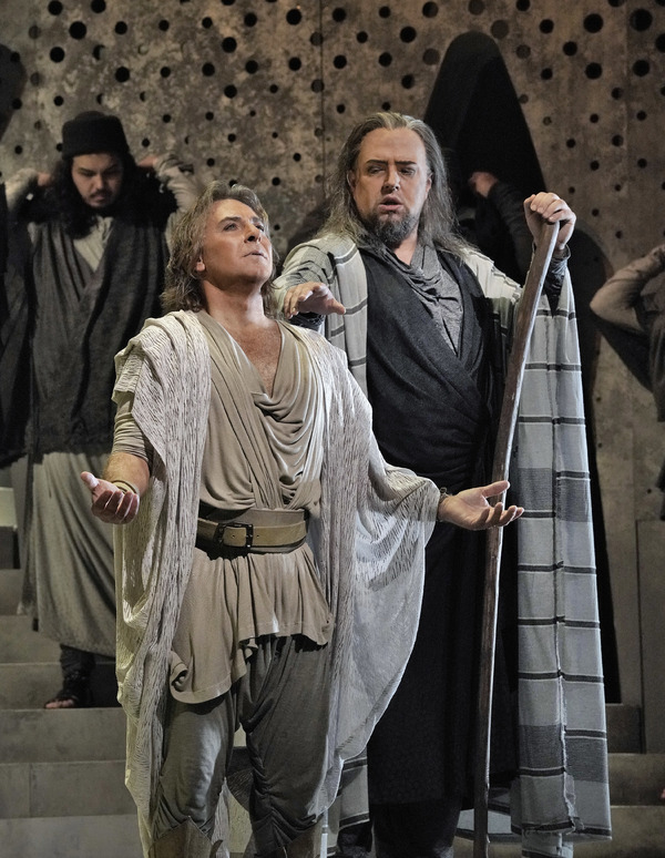 "Roberto Alagna as Samson and Dmitry Belosselskiy as the Old Hebrew in Saint-Saëns's ""Samson et Dalila."""
