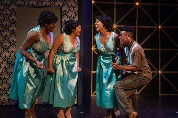 Effie White (TANIKA BAPTISTE), Lorrell Robinson (LOREIGNA SINCLAIR), Deena Jones (MARISSA RUDD), and C.C. White (KRIS ANTHONY WILLIAMS) perform together in Berkeley Playhouse's production of Dreamgirls