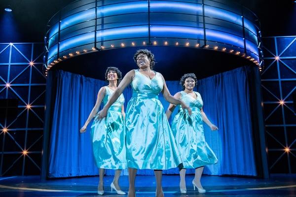 Deena Jones (MARISSA RUDD), Effie White (TANIKA BAPTISTE), and Lorrell Robinson (LOREIGNA SINCLAIR) perform together in Berkeley Playhouse's production of Dreamgirls
