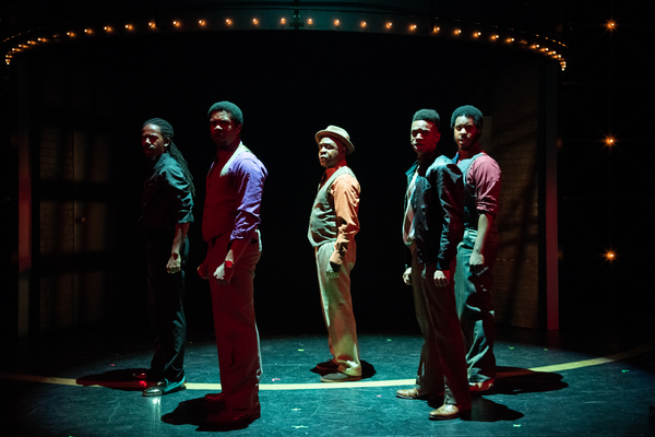 "James ""Thunder� Early (MARCEL SAUNDERS), Curtis Taylor Jr. (STEPHEN WILSON), Marty (SHAWNJ WEST), C.C. White (KRIS ANTHONY WILLIAMS) and Wayne / MC / Tuxedo (THE T) perform together in Berkeley Playhouse's production of Dreamgirls"