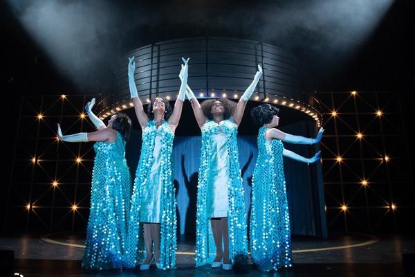 Lorrell Robinson (LOREIGNA SINCLAIR), Deena Jones (MARISSA RUDD), Effie White (TANIKA BAPTISTE), and Michelle Morris (CHANEL TILGHMAN) perform together in Berkeley Playhouse's production of Dreamgirls
