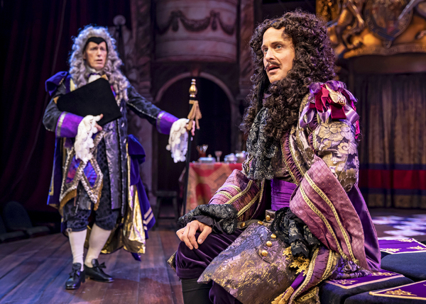 King Charles II (Timothy Edward Kane) rebuffs his advisor Lord Arlington (Larry Yando) in Chicago Shakespeare's North American premiere production of Nell Gwynn