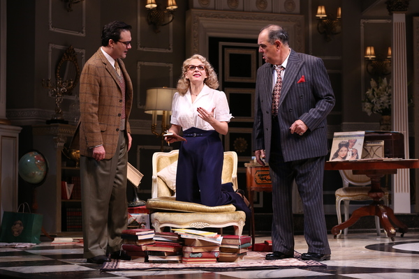 "Cody Nickell (as Paul Verrall), Kimberly Gilbert (as Billie Dawn) and Edward Gero (as Harry Brock) in the Ford's Theatre production of Garson Kanin's ""Born Yesterday,�"
