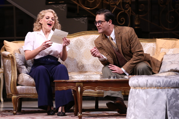 """Kimberly Gilbert (as Billie Dawn) and Cody Nickell (as Paul Verrall) in the Ford's Theatre production of Garson Kanin's """"Born Yesterday,�"""