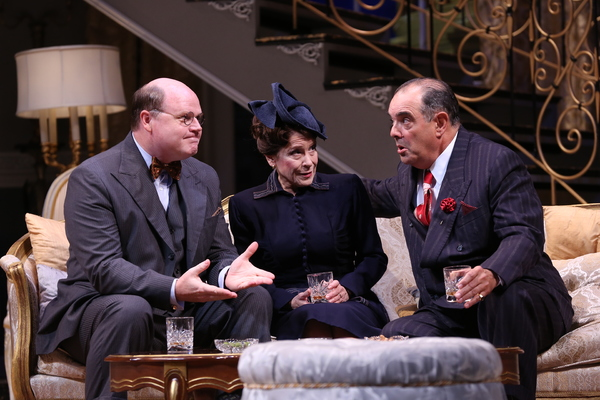 "Todd Scofield (as Senator Norval Hedges), Naomi Jacobson (as Mrs. Hedges) and Edward Gero (as Harry Brock) in the Ford's Theatre production of Garson Kanin's ""Born Yesterday,�"