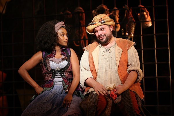 Gisela Adisa as Aldonza and Tony Manna as Sancho Panza