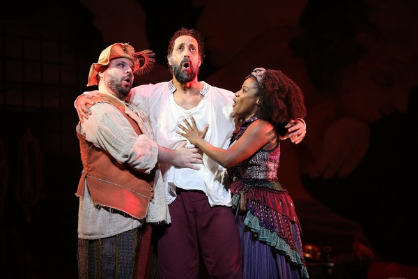 Tony Manna as Sancho Panza, Philip Hernandez as Don Quixote, and Gisela Adisa as Aldonza