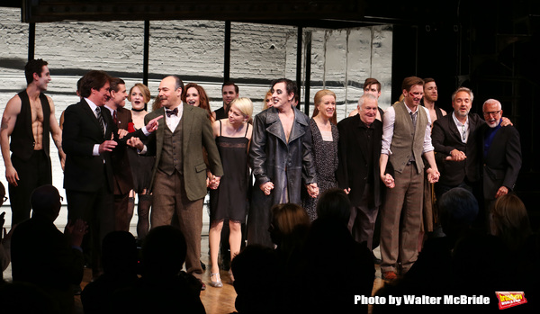 Rob Marshell, Aaron Krohn, Danny Burstein, Michelle Williams, , Alan Cumming, Linda Emond, John Kander, Bill Heck, Gayle Rankin, Sam Mendes and Joe Masteroff during the Broadway Opening Night Performance Curtain Call for 'Cabaret' at Studio 54 on April 24