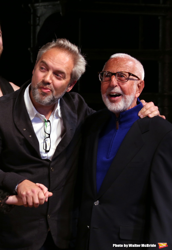 Sam Mendes and Joe Masteroff during the Broadway Opening Night Performance Curtain Call for 'Cabaret' at Studio 54 on April 24, 2014 in New York City.