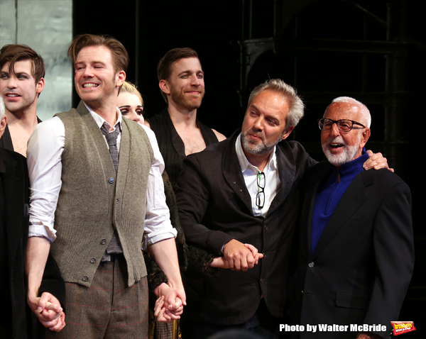 Bill Heck, Sam Mendes and Joe Masteroff during the Broadway Opening Night Performance Curtain Call for 'Cabaret' at Studio 54 on April 24, 2014 in New York City.