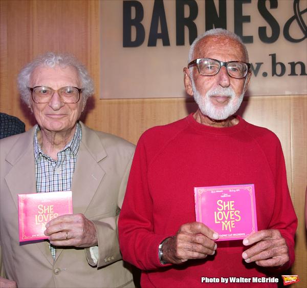Sheldon Harnick and Joe Masteroff attends the CD release signing for the Broadway revival of 'She Loves Me' at Barnes and Noble 86th street on August 3, 2016 in New York City.