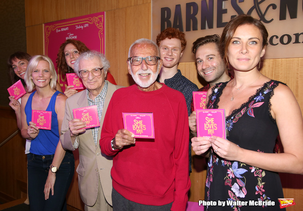 Laura Shoop, Jenifer Foote, Alison Cimmet, Sheldon Harnick, Joe Masteroff, Nicholas Barasch, Michael Fatica and Laura Benanti attends the CD release signing for the Broadway revival of 'She Loves Me' at Barnes and Noble 86th street on August 3, 2016 in Ne