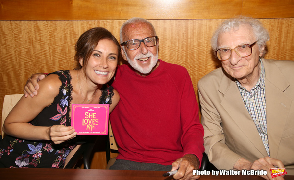 Laura Benanti, Joe Masteroff and Sheldon Harnick attends the CD release signing for the Broadway revival of 'She Loves Me' at Barnes and Noble 86th street on August 3, 2016 in New York City.