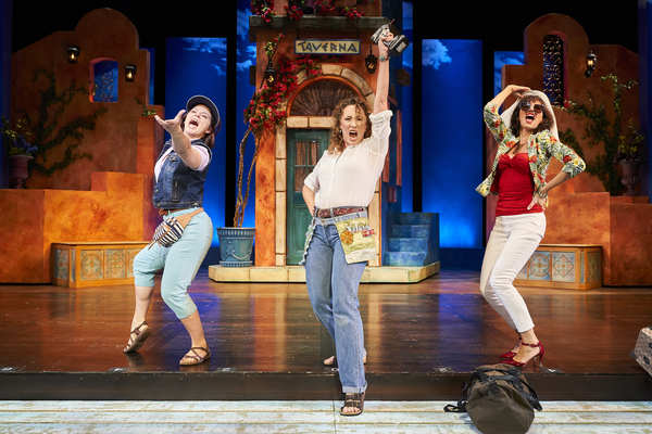 Rosie  (actor,  Laura  Welsh  Berg*),  Donna  (actor,  Jillian  Kates*)  and  Tanya  (actor,  Jodi  Dominick*)  reunite  in  the  Great  Lakes  Theater  production  of  MAMMA  MIA!