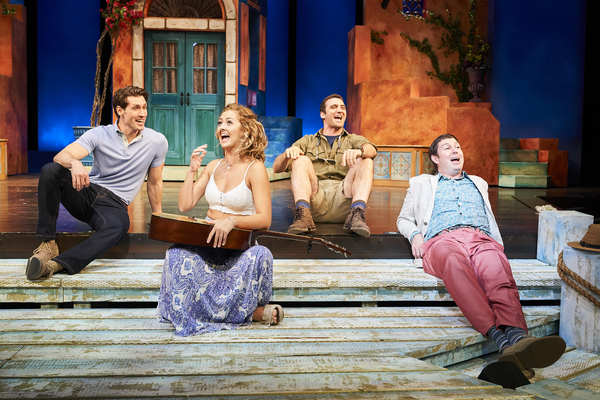 Sophie  (actor,  Kailey  Boyle*)  shares  some  laughs  with  her  three  potential  fathers  (actors,  Nick  Steen*,  Alex  Syiek*  and  Eric  Damon  Smith*)  in  the  Great  Lakes  Theater  production  of  MAMMA  MIA!