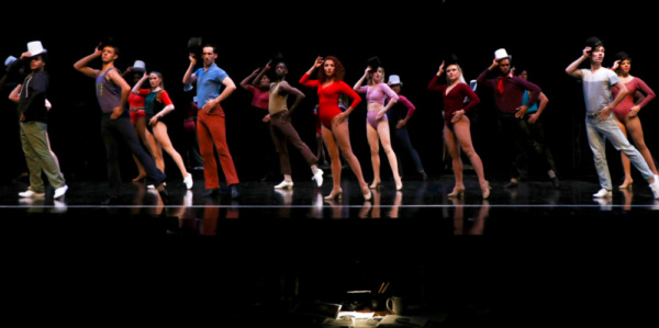 Zach (Brian Kulaga) and cast in A Chorus Line at Metropolis Performing Arts Centre