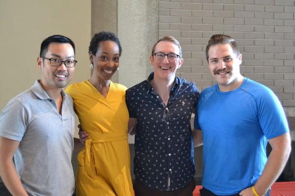Christopher Shin (Luke/Ensemble), Kristyn Pope (Chastity/Ensemble), Brent McBeth (Quartet/Ensemble) and Brett Uram (Swing)