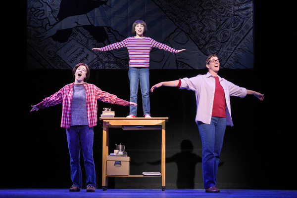 """Medium Alison (Erin Kommor), Small Alison (Ruth Keith), and Alison (Moira Stone) remember playing airplane with their dad in """"Fun Home,�"""