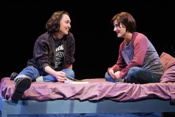 """Joan (Ayelet Firstenberg) and Medium Alison (Erin Kommor) talk about Alison's coming out in """"Fun Home,"""""""