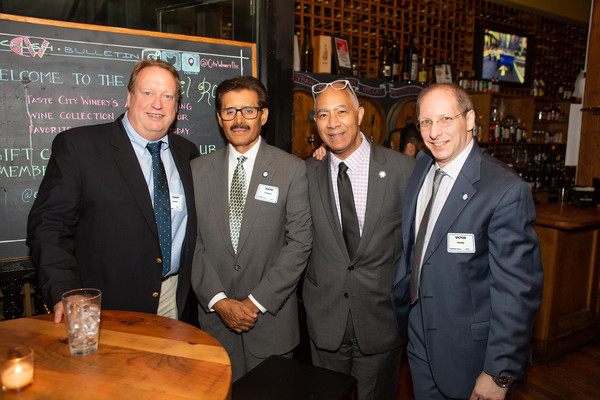 Members (l. to r.) Steve Marquard, Dixon Rosario, ATPAM President David Calhoun, and Victor Irving (party committee co-chair).