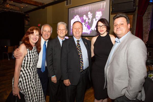 (l. to r.) Haviland Morris, Joe Benincasa (Actors Fund), Robert Score (Local 1), Lawrence Paone (Local 751), Leah Okin (Local 764) and Joe Hartnett (IATSE).