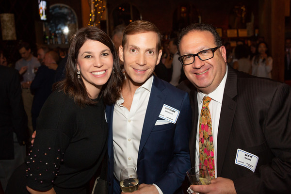 ATPAM member Amanda Kaus (party committee co-chair).  with Anthony LaTorella of the Nederlander Organization and  Scott Irgang of the Broadway League.
