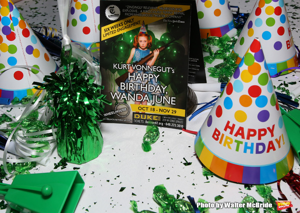 "Birthday Party Photo Call for the Wheelhouse Theater Company production of Kurt Vonnegut's ""Happy Birthday, Wanda June""  on October 3, 2018 at Bond 45 Times Square in New York City."