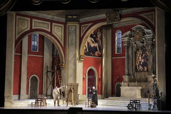 "Act I of Puccini's ""Tosca"" with Brian Jagde as Cavaradossi and Dale Travis as the Sacristan"