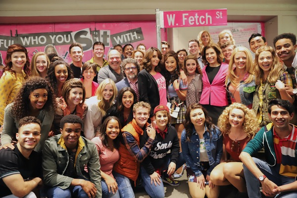 Tina Fey, Jeff Richmond, Nell Benjamin, Casey Nicholaw, Jonathan Bennett, Julie Menin, and the full cast of Mean Girls