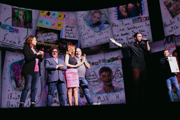 Tina Fey, Jeff Richmond, Nell Benjamin, Casey Nicholaw, and Jonathan Bennett