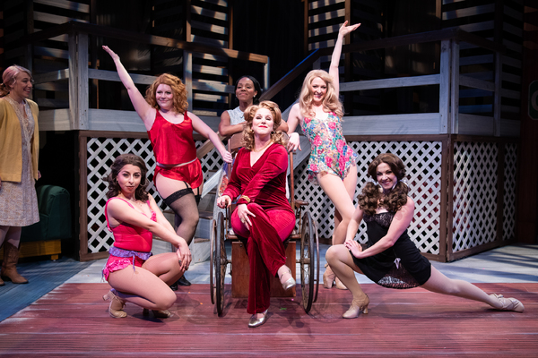 Dyan McBride (center) as Miss Mona with the ladies of the Chicken Ranch (L to R: Madison Genovese, Yuliya Edelnant, Andrea Dennison-Laufer, Doris Bumpus, Anne Norland, Brittney Monroe) .Photo: Ben Krantz Studio.