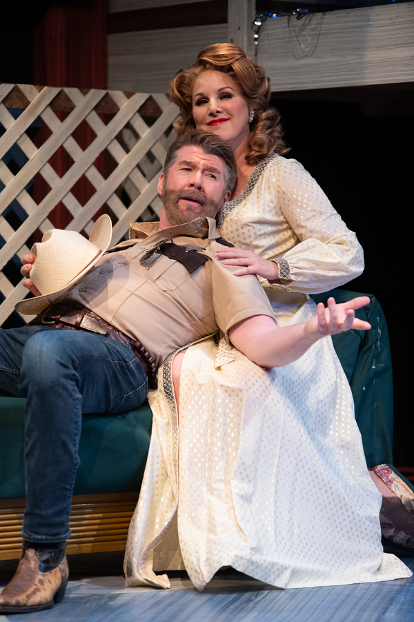 Michael Ray Wisely as Sheriff Ed Earl Dodd and Dyan McBride as Miss Mona. Photo: Ben Krantz Studio.