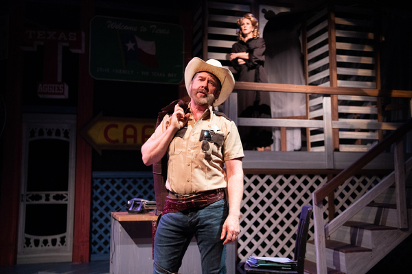 Michael Ray Wisely as Sheriff Ed Earl Dodd (with Dyan McBride as Miss Mona). Photo: Ben Krantz Studio.