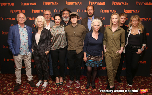 Mark Lambert, Dearbhla Molloy, Stuart Graham, Laura Donnelly, playwright Jez Butterworth, Fra Fee, Justin Edwards, Fionnula Flanagan, Genevieve O'Reilly, Tom Glynn-Carney, and producer Sonia Friedman