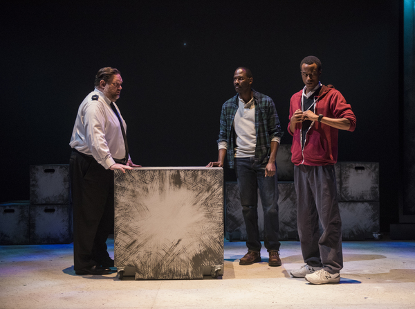 Christopher M. Walsh (Uncle Terry/Station Policeman/Ensemble), Cedric Mays (Ed) and T Photo