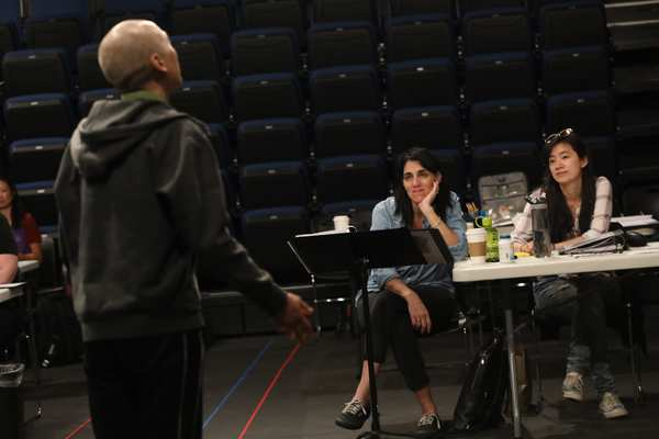 Francis Jue, director Leigh Silverman, and playwright Hansol Jung