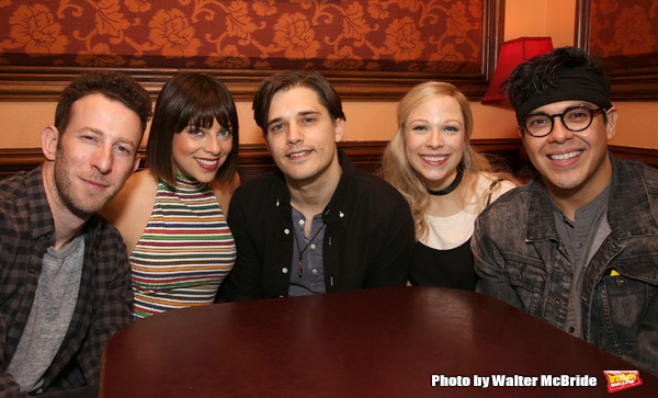 "Nick Blaemire, Krista Rodriguez, Andy Mientus, Lauren Marcus and George Salazar from the cast of ""The Jonathan Larson Project"""