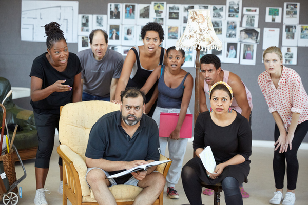 Michele Austin, Philip Bird, Tony Jayawardena, Amanda Wilkin, Ayesha Antoine, Karl Queensborough, Ayesha Dharker and Naomi Frederick in rehearsals for White Teeth at the Kiln Theatre