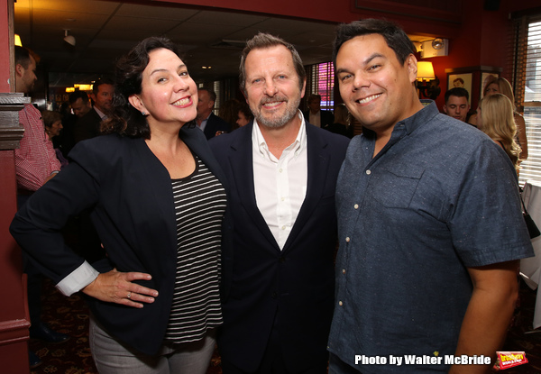 Kristen Anderson-Lopez and Robert Lopez with Rob Ashford