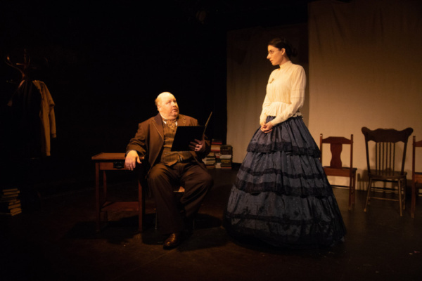 Lumber baron James Nash (Brendan Patrick Connor) meets educator Esther Daniels (Adriana Jones) in Saginaw, Michigan, in 1856.  Photo Credit: Elizabeth Mealey  Implied Consent at the Access Theater