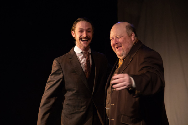 Matthew Hildebrandt (Ryan Desaulniers) and James Nash (Brendan Patrick Connor).   Photo Credit: Elizabeth Mealey  Implied Consent at the Access Theater, October 2018.