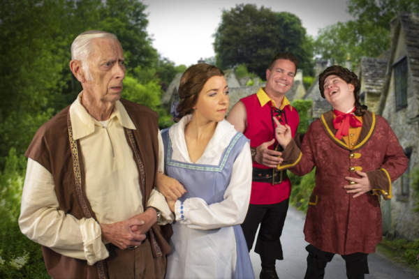 Maurice (William Walters) and Belle (Katie Conn) are mocked by Gaston (Brian Davis) and Lefou (Nicky Elridge)
