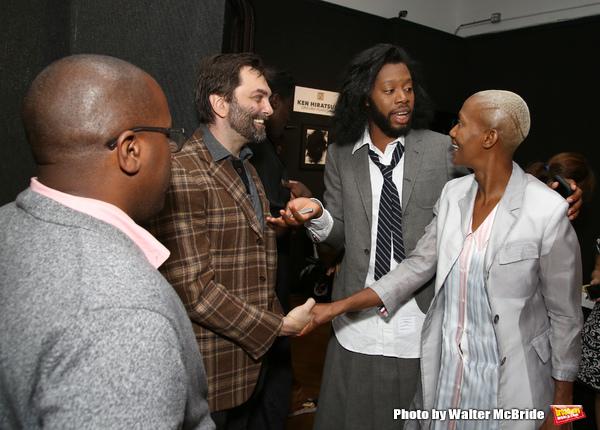 Michael R. Jackson, Christopher Shinn, Jeremy O. Harris with his mom  Veronica Ann Fa Photo