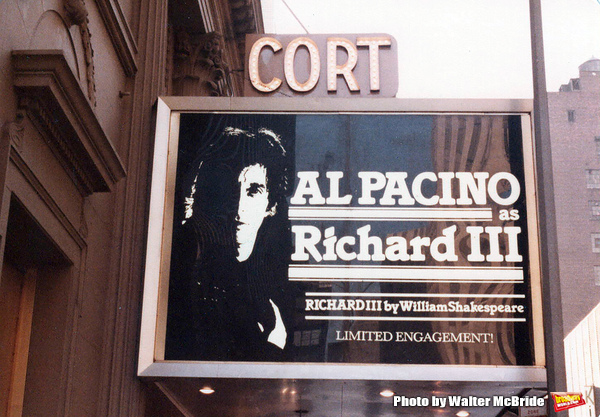 "Opening Night Theatre Marquee for Al Pacino as ""Richard III"" on Broadway on June 14, 1979 at the Cort Theatre in New York City."