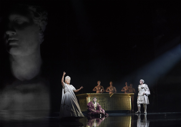 Karita Mattila as Plotina, Thomas Hampson as Hadrian (sitting), and Roger Honeywell as Trajan in the Canadian Opera Company's world premiere production of Hadrian