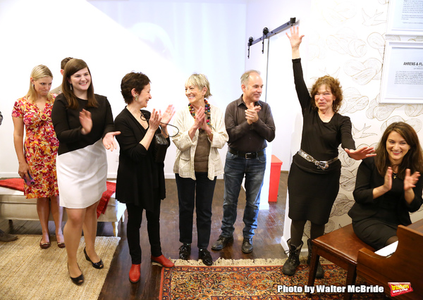 Rachel Routh, Lynn Ahrens, Carol Hall, Stephen Flaherty and Gretchen Cryer attends the Dramatists Guild Fund Music Hall and Office warming party at their new home on April 17, 2015 in New York City.